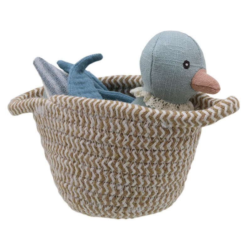 Blue Duck toy in a basket