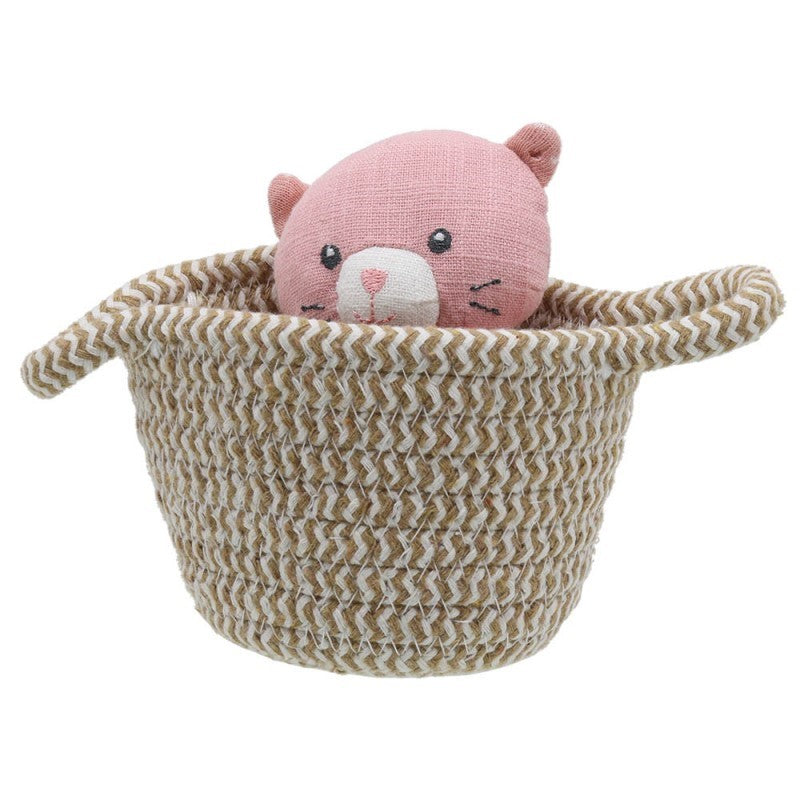 Pink Cat toy in a basket