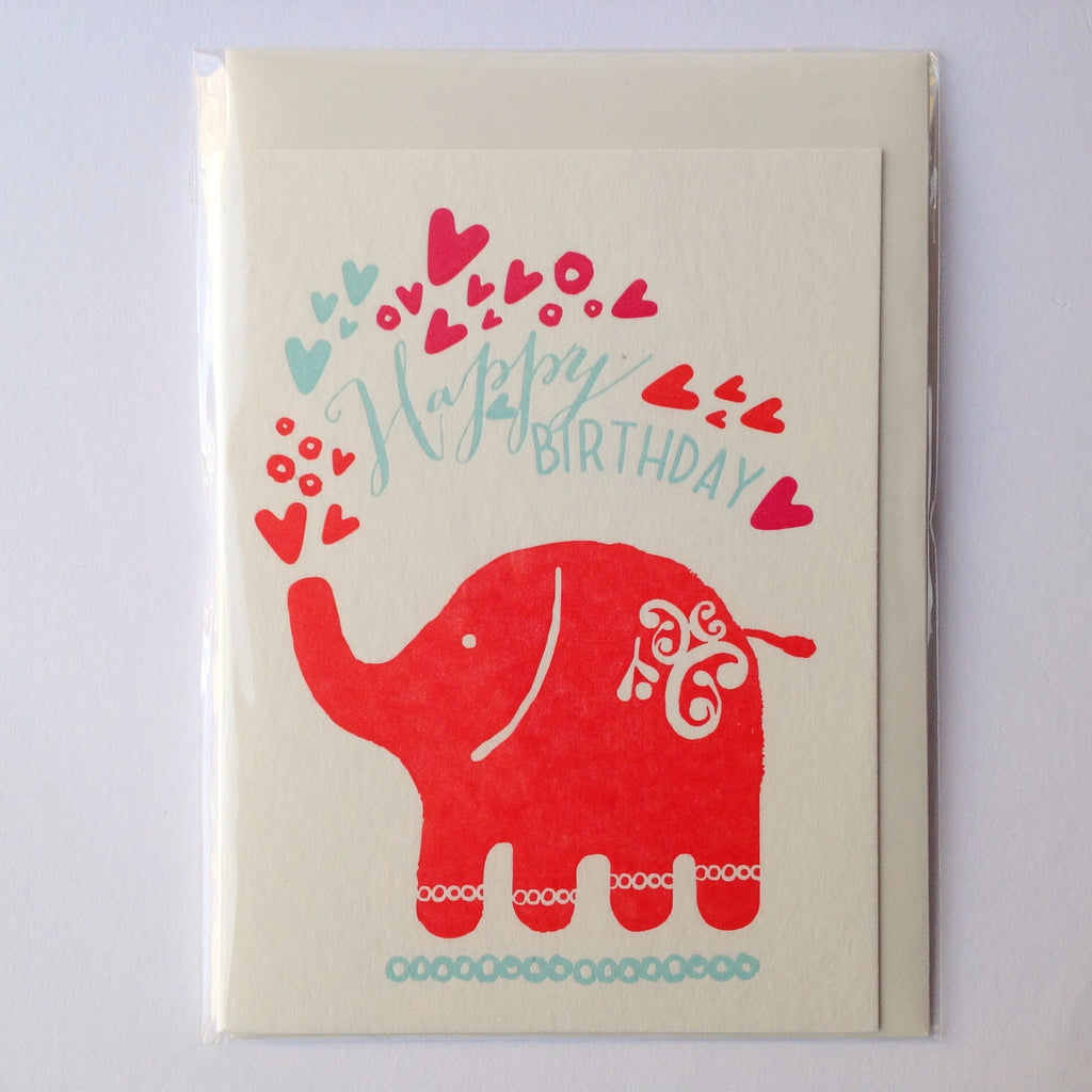 Elephant Letterpress card Happy Birthday