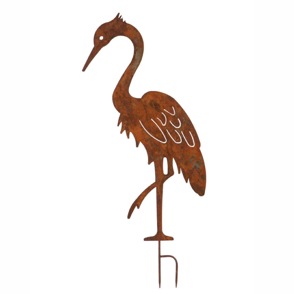 Large Rusty Garden Heron Decoration