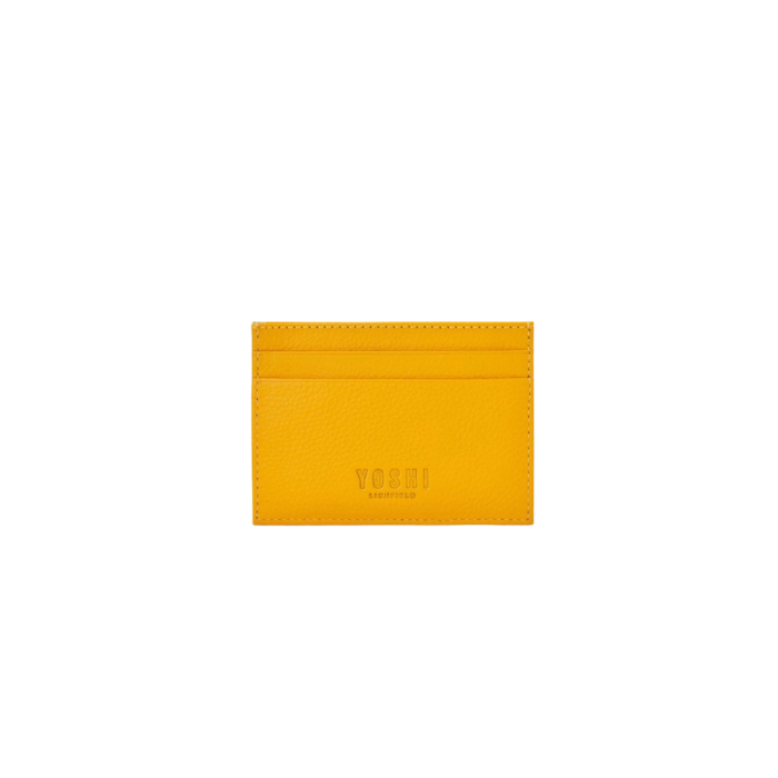 Bookworm leather card holder - yellow