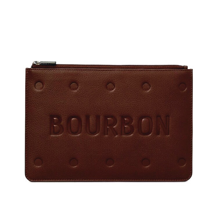 Bourbon biscuit leather pouch