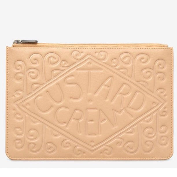 Custard Cream biscuit leather pouch