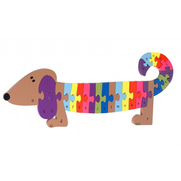 Dachshund dog wooden puzzle