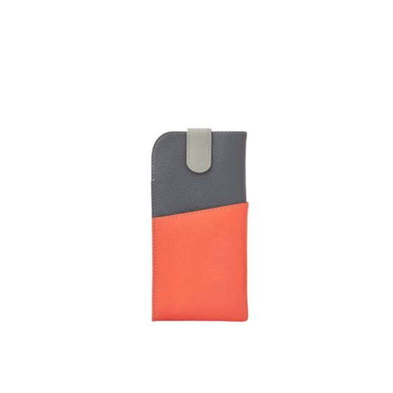 Spectacles case -Grey/coral
