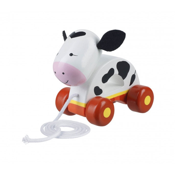 Pull along cow toy