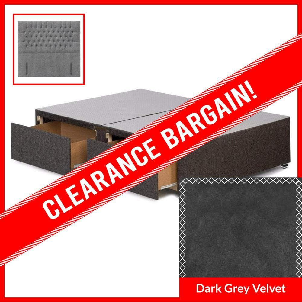 6' Super King Signature Platform Top 2 Drawer Divan Base with New York Floor Standing Headboard in Dark Grey Velvet