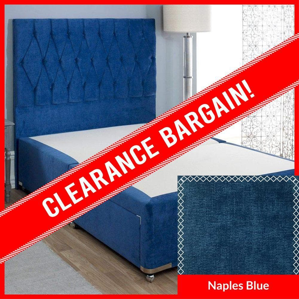 4'6 Double Sophia Briar-Rose Luxury Cushioned Top Divan Bed Base with Diamond Floor Standing Headboard in Naples Blue