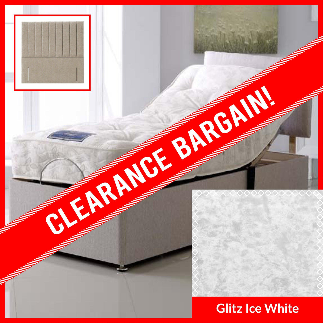 3' Single Apollomatic 1000 Pocket Adjustable Electric Divan Bed Set with Madrid Floor Standing Headboard in Glitz Ice White