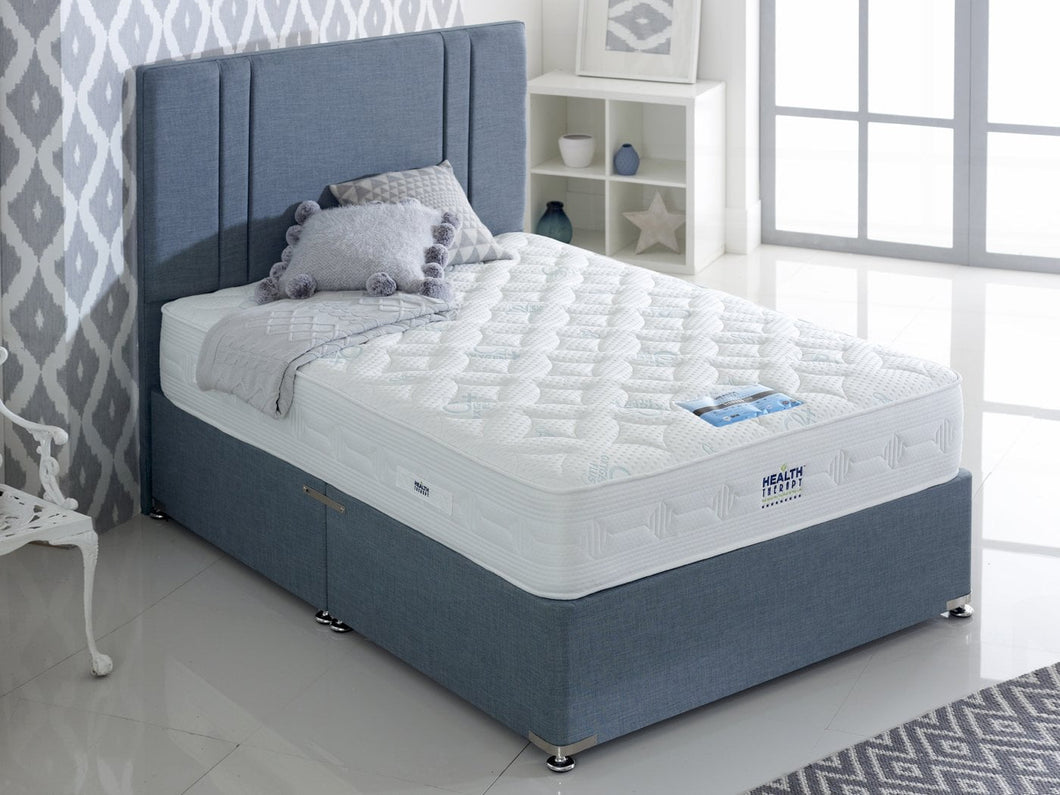Health Therapy Diamond 2000 Pocket Sprung Cool Blue Memory Foam Divan Bed Set
