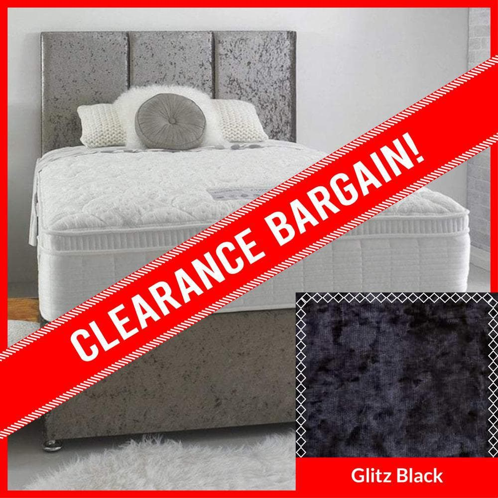 2'6 Small Single Celebration 1800 Pocket Sprung Cushioned Top Divan Bed Set in Glitz Black