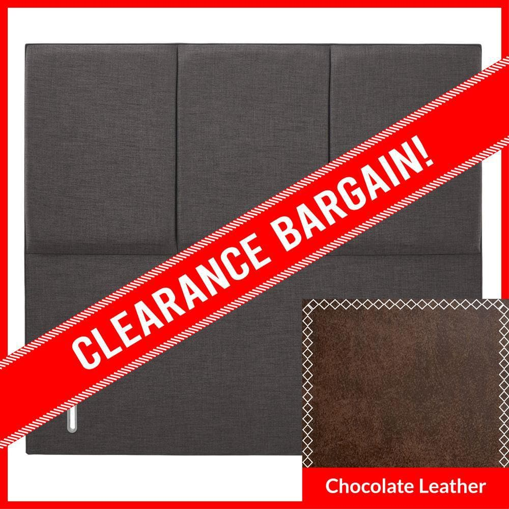5' King Size Dreamland Tulip Dream Floor Standing Upholstered Headboard in Chocolate Faux Leather