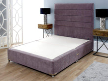 4'6 Double Sophia Briar-Rose Low Cushioned Top Divan Bed Base with Lotus Floor Standing Headboard in Naples Lilac