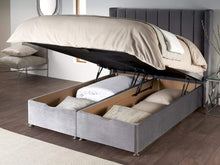 6' Super King Serene Posie Storage End Lift Ottoman Divan Bed Base in Skye Platinum