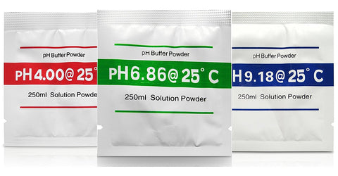 pH Meter Buffer Solution Powder Set for Precise pH Meter Calibration, Calibration Solution, Easy, Portable, Make 250 ml of Each 4.00, 6.86 and 9.18 pH Solution, 3 Count