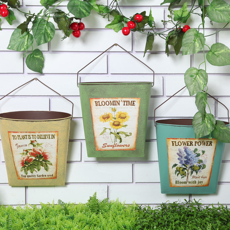 Pastoral Style Wrought Iron Wall Hanging Creative Garden Pots Planters.