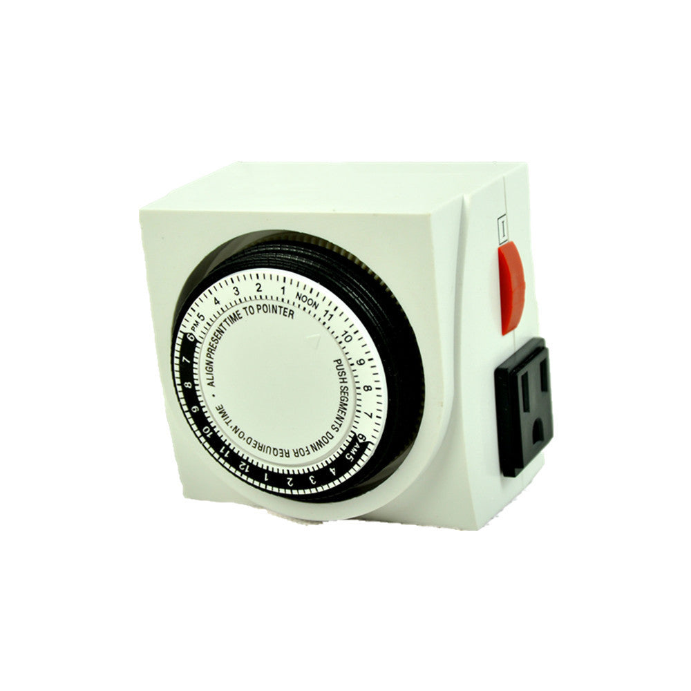 24 Hour Dual Outlet Grounded Timer Switches Hydroponic Grow Light Timer UL Listed