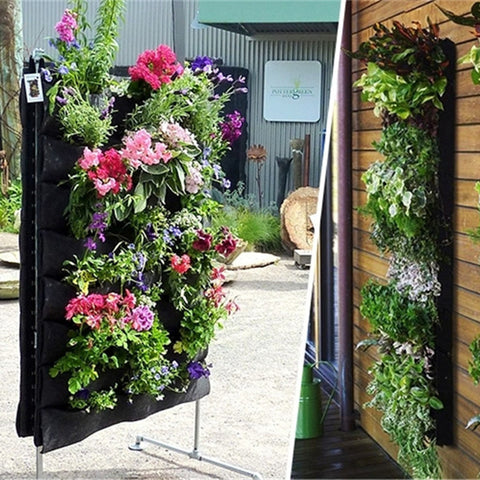 Hanging Flower Pot Polyester Wall Mounted Vertical Gardening Flower Pot