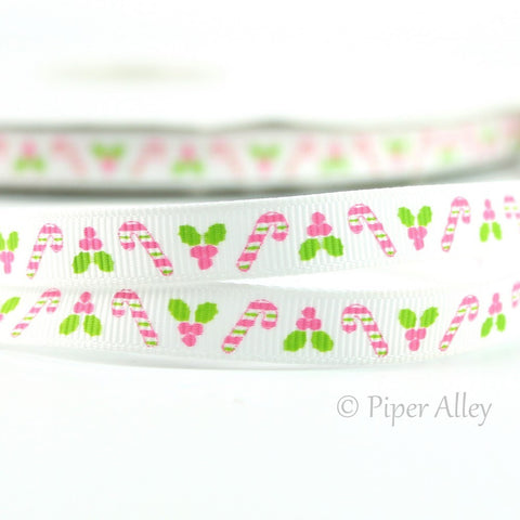 "White 3/8"" Ribbon Christmas Pink Candy Canes 5 yards"