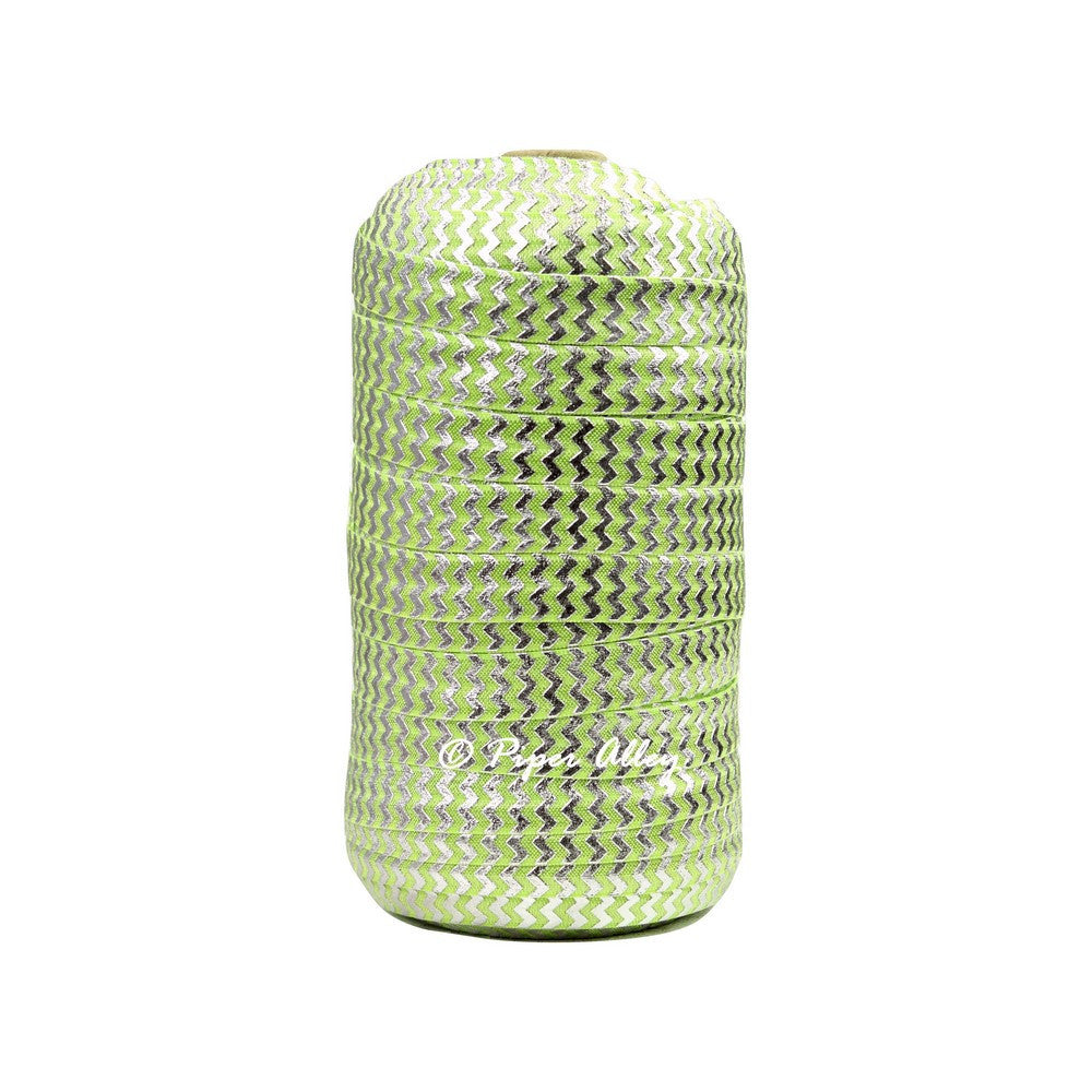 "Apple Green 5/8"" FOE Metallic Silver Chevron 5 yards"