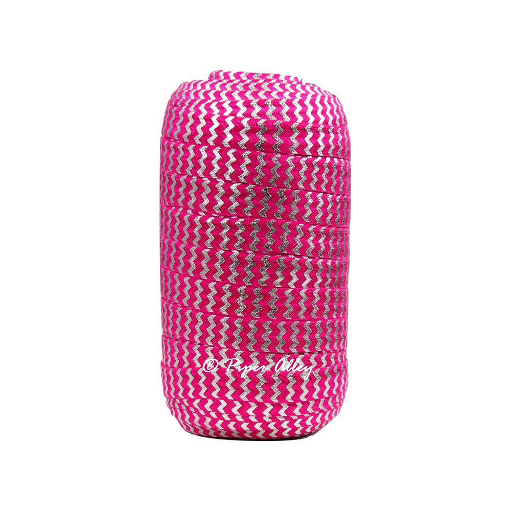 "Shocking Pink 5/8"" FOE Metallic Silver Chevron 5 yards"