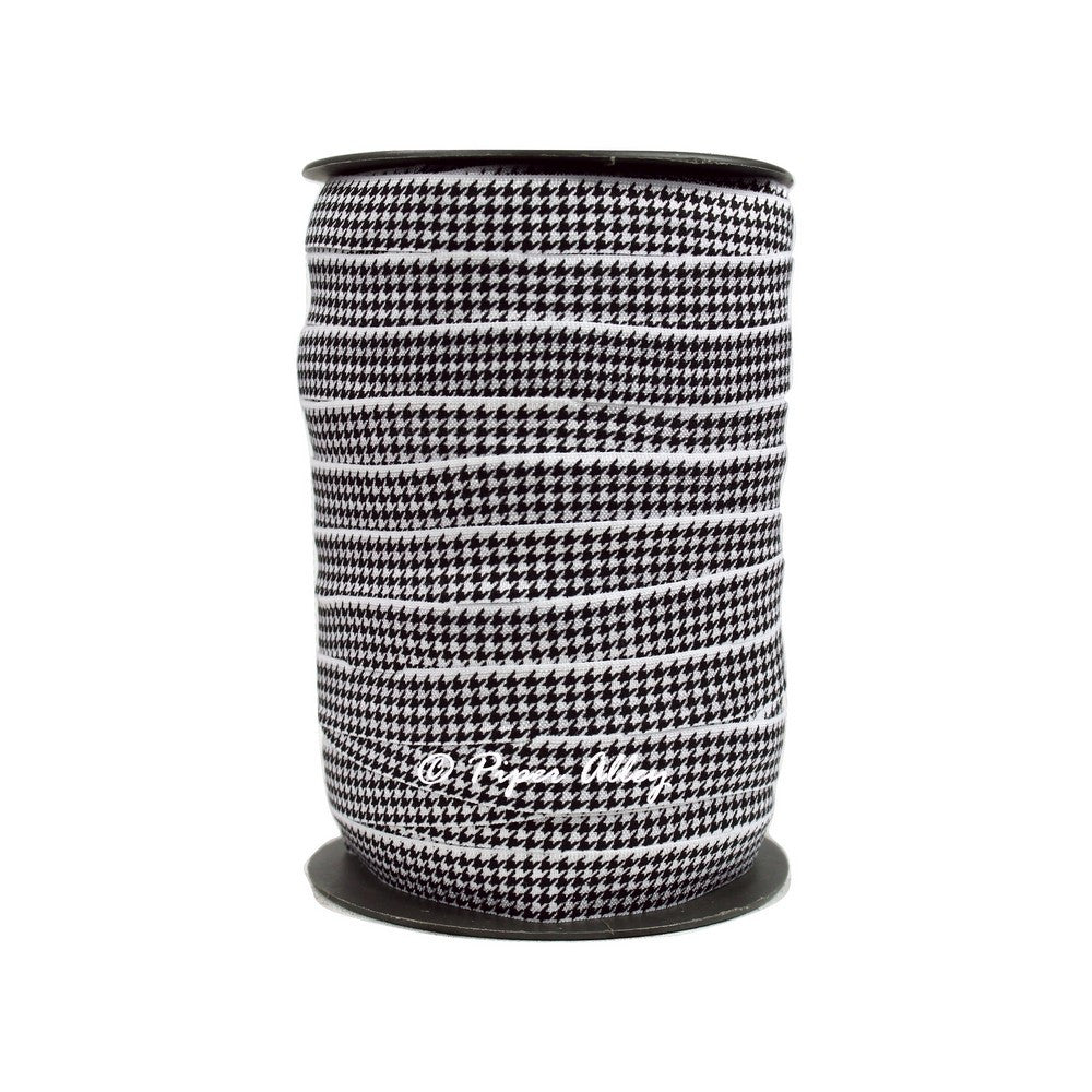 "White 5/8"" FOE Black Houndstooth 5 yards"