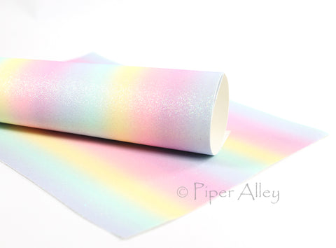 Pastel Rainbow Fine Glitter Fabric Sheet