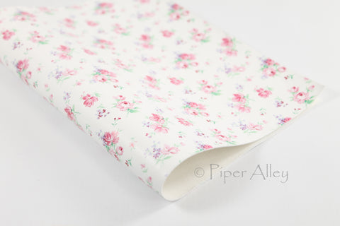 Pink Cottage Roses Faux Leather Sheet