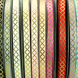 "Raspberry Rose 3/8"" Ribbon Mettalic Gold Quatrefoil 5 yards"