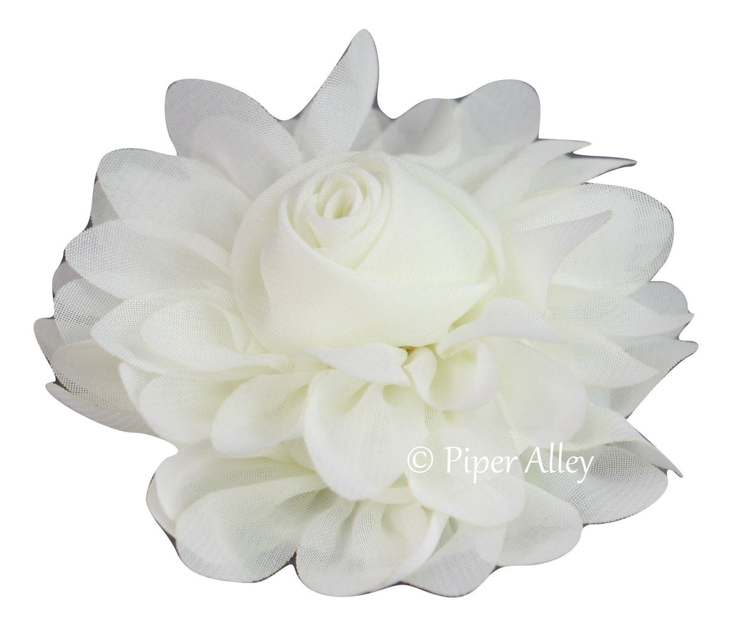 Blooming Rose Chiffon Flower 3.5""