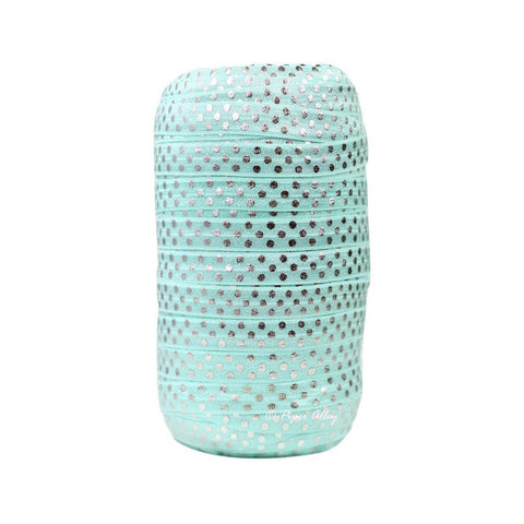 "Aqua 5/8"" FOE Metallic Silver Swiss Dot 5 yards"