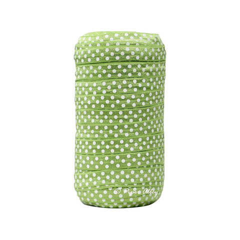 "Apple Green 5/8"" FOE White Swiss Dot 5 yards"