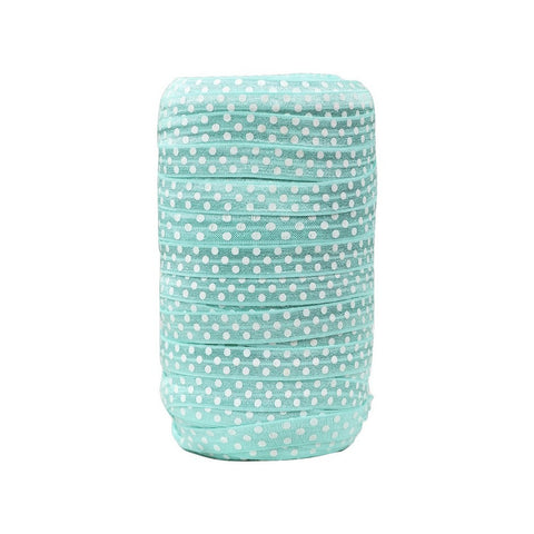 "Aqua 5/8"" FOE White Swiss Dot 5 yards"