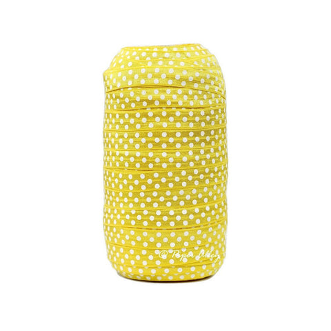 "Lemon Yellow 5/8"" FOE White Swiss Dot 5 yards"