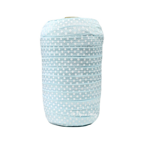"Lite Blue 5/8"" FOE White Swiss Dot 5 yards"