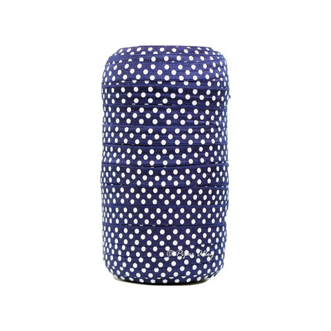 "Navy Blue 5/8"" FOE White Swiss Dot 5 yards"