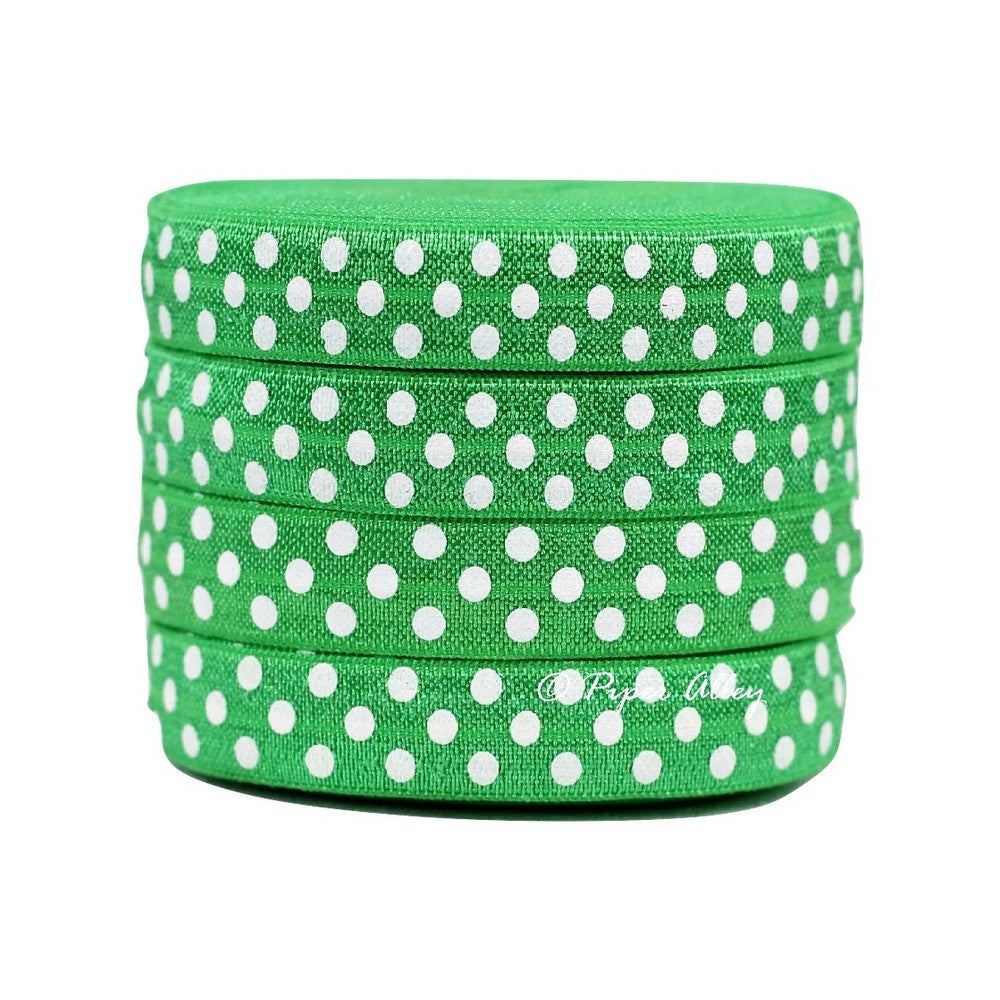 "Emerald Green 5/8"" FOE White Swiss Dot 5 yards"