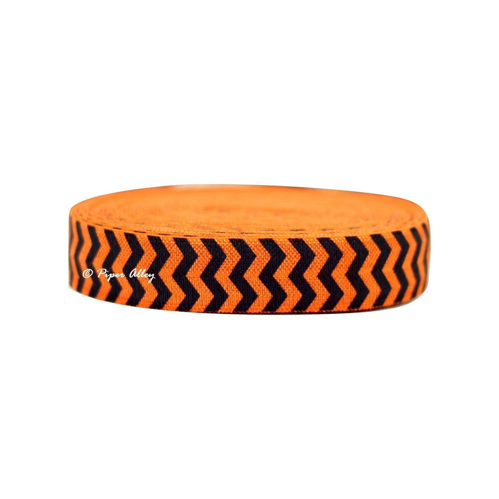 "Tangerine 5/8"" FOE Black Chevron 5 yards"