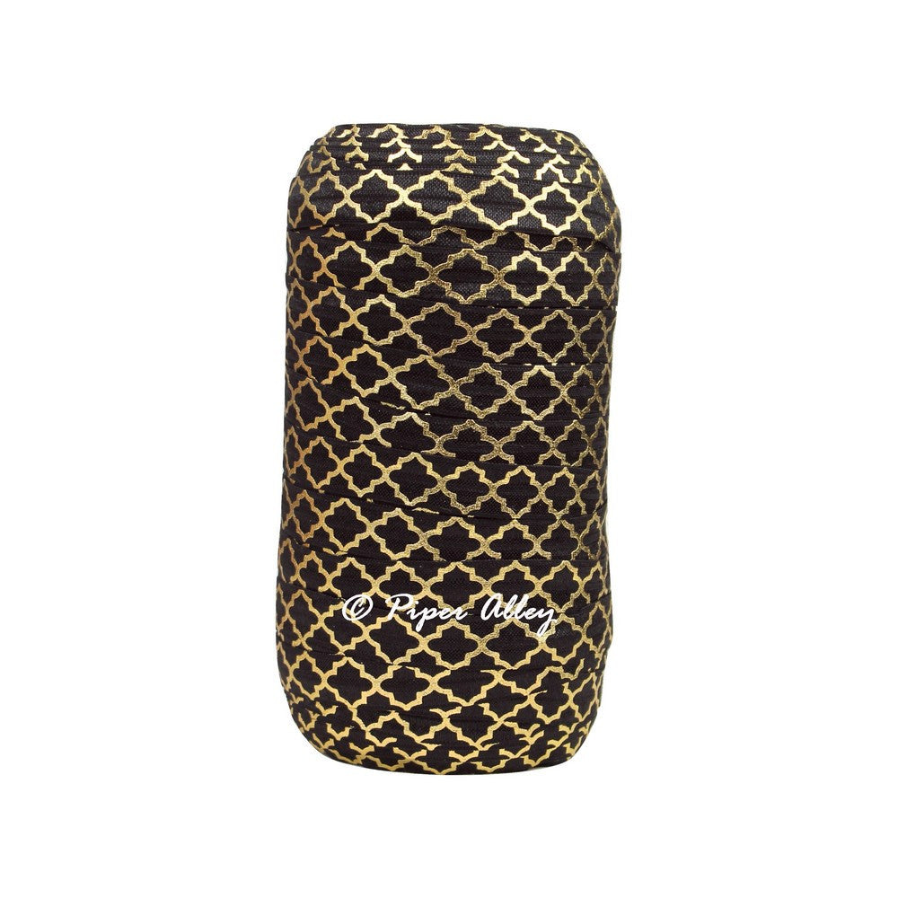 "Black 5/8"" FOE Metallic Gold Quatrefoil 5 yards"