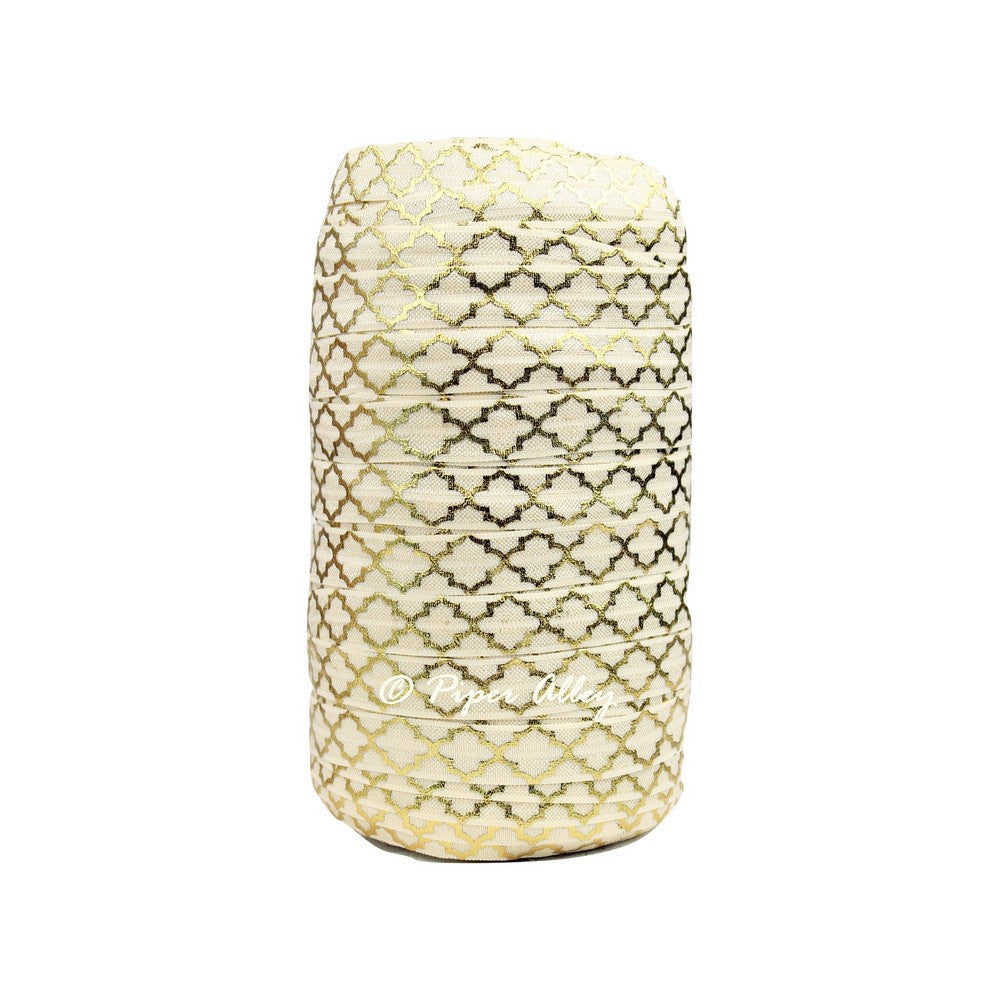 "Ivory 5/8"" FOE Metallic Gold Quatrefoil 5 yards"