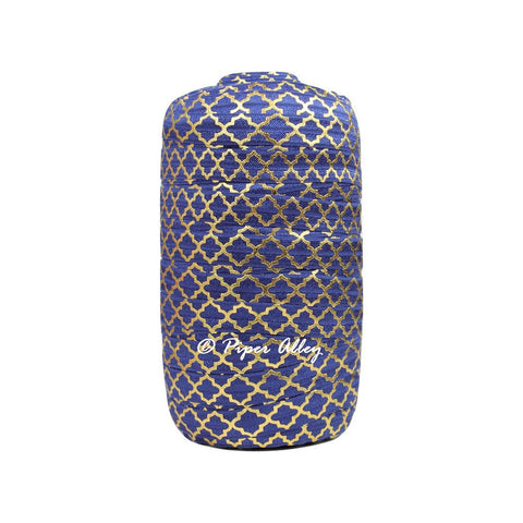 "Navy Blue 5/8"" FOE Metallic Gold Quatrefoil 5 yards"