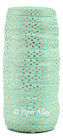 "Aqua 3/8"" Narrow FOE Metallic Gold Dots 5 yards"