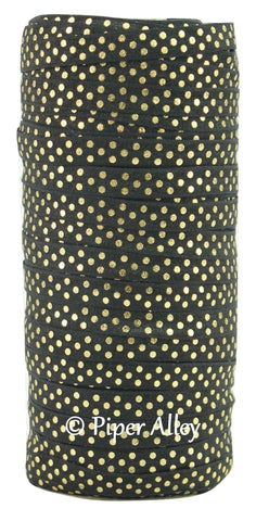 "Black 3/8"" Narrow FOE Metallic Gold Dots 5 yards"