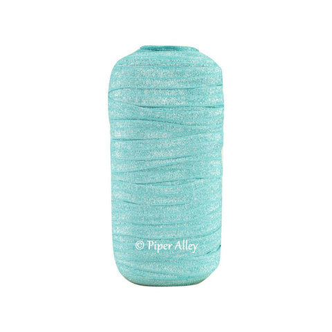 "Turquoise 5/8"" FOE Glitter Silver Threads 5 yards"