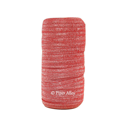 "Red 5/8"" FOE Glitter Silver Threads 5 yards"