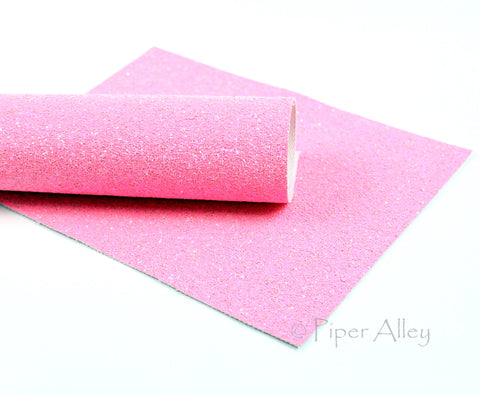 ALMOST PASSIONFRUIT, Chunky Glitter Fabric Sheet, Bright Pink, 8x11 inches, White Canvas Back
