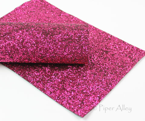 BERRY Dark Pink, Chunky Glitter Fabric Sheet, Rich Deep Pink Glitter, 8x11 inches, Black Canvas Back