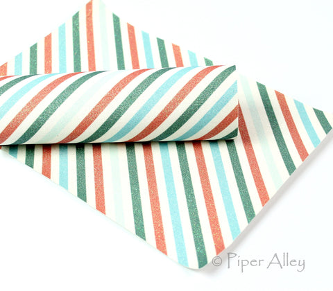 Barber Shop Stripes, FINE Glitter Fabric Sheet, 8 x 11 inches, Diagonal Stripe, Red, Green, Blue, Off White