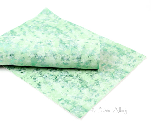 SPEARMINT Green, Metallic Green Patina Mix, Faux Leather Fabric Sheet, 8x11 inches, White Back