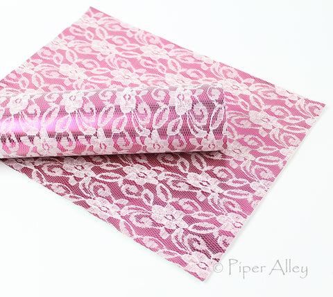 METALLIC LACE, Magenta Pink Metallic Lace, Bright Pink, Faux Leather Fabric Sheet, 8x11 inches, White Knit Back